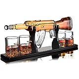 Whisiskey® Whisky Karaffe - Gewehr - Whiskey Karaffe Set - 1000 ML - Geschenke für Männer - Inkl. 9 Whisky Steine, Ausgießer & 4 Whisky Gläser