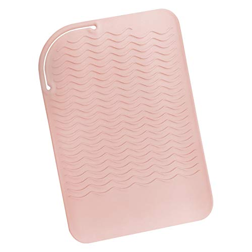 "Sygile 11"" X 7.5"" Larger Size Heat Resistant Silicone Travel Mat, Anti-heat Pad for Hair Straighteners, Curling Irons, Flat Irons and Other Hot Styling Tools - Blush Pink"