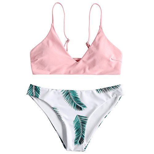 ZAFUL Damen Push Up Gepolsterter Bikini-Set Blatt Drucken Badehose Bademode Badeanzug RosaM