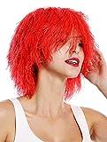 WIG ME UP- MMSLW-K120B Peluca de Mujer Hombre Carnaval despeinada despeluznada como Paja voluminosa Duende Payaso Color Rojo Fuego