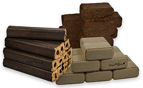 mumba - Probierset insgesamt 30kg Holzbriketts (10kg Eichenbriketts eckig, 10 kg Rindenbriketts eckig und 10kg Buchenbriketts eckig)