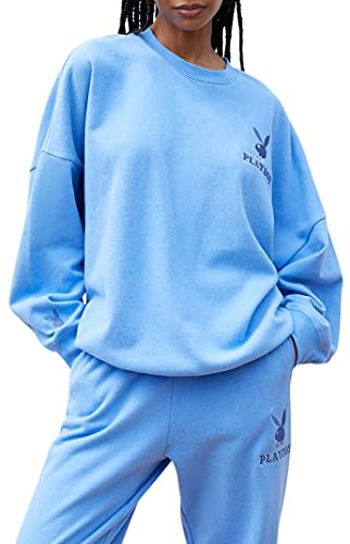 PacSun Playboy Women's Classic Crew Neck Sweatshirt - Blue Size Medium