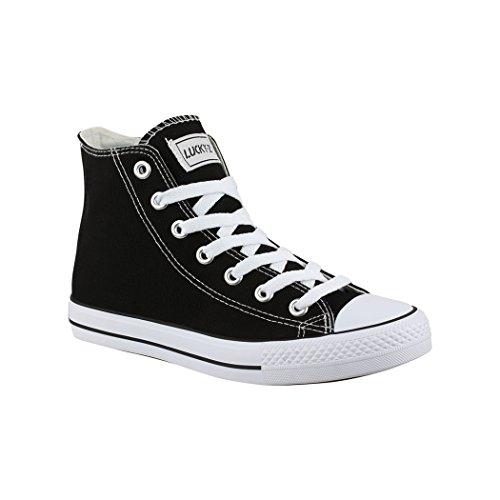 Elara Unisex Sneaker Sportschuhe High Top Turnschuh Chunkyrayan 014-A-Sch-40