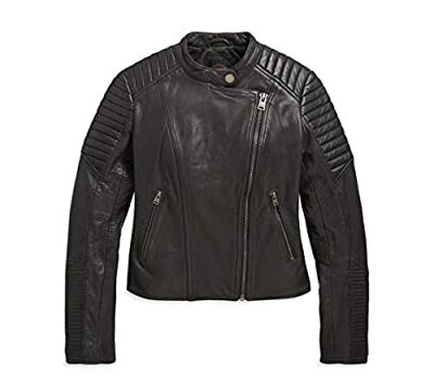 Harley-Davidson Women's Slim Fit Leather Biker Jacket (Black, Large)