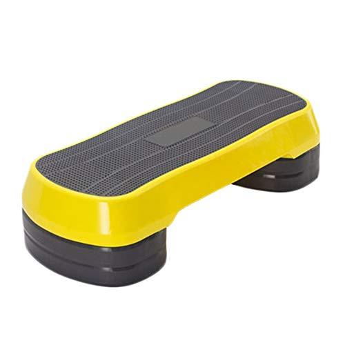 Steps de Aerobic Gimnasio en casa Nivel 3 Aerobic Stepper Multi-función de Altura Ajustable Aerobic Stepper Ayuda a Mejorar la coordinación (Color : Yellow, Size : 85cm)