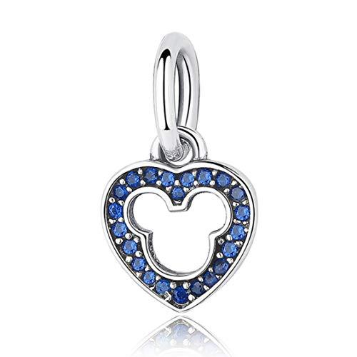 EvesCity Bolenvi - Abalorio de plata de ley 925, diseño de ratón con zafiro azul cristalizado, para pulseras y collares, el mejor regalo para ella yoga Ohm