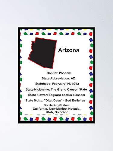 Situen Arizona State Fact Poster - for Office Decor, Dorm, Classroom, Gymnast and LGBT Besties, Holiday, Great Inspirational Wall Art