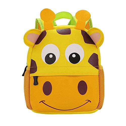 Kinderrucksack Bunter Leichter und Moderner Babyrucksack Süßer Cartoon Tier Design auf der Schultasche für Kinder 2-5 Jahre Alt für Junge und Mädchen (Giraffe, 26*10*32 cm)