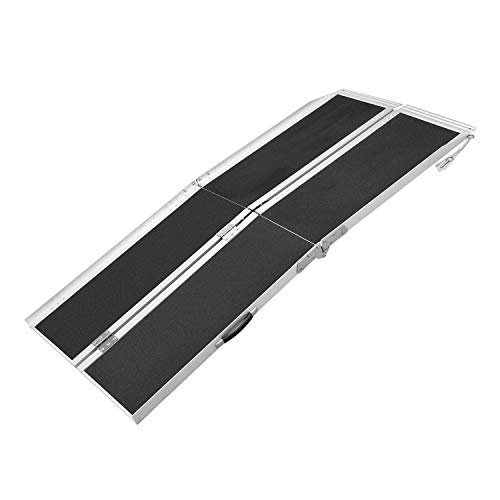 6FT (31'W x 72'L) Wheelchair Ramp, Non-Slip Portable Aluminum Ramp for Wheelchairs Double-Fold 800lbs Weight Capacity for Steps Stairs and Thresholds ZMZ