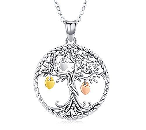 Baum des Lebens Halskette, Damen 925 Sterling Silber Lebensbaum Anhänger Feiner Schmuck mit Kette 18inch Geschenke mit Box