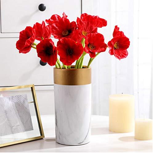 Oulensy 10pc Rojo Amapola Artificial Flores Falsas Novia de la Boda del Ramo de la Oficina Principal Tienda de decoración del Ramo de la Fiesta de simulación PU apoyos Foto de la Flor
