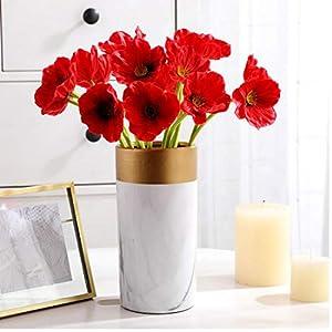 Oulensy 10pc Rojo Amapola Artificial Flores Falsas Novia de la Boda del Ramo de la Oficina Principal Tienda de…