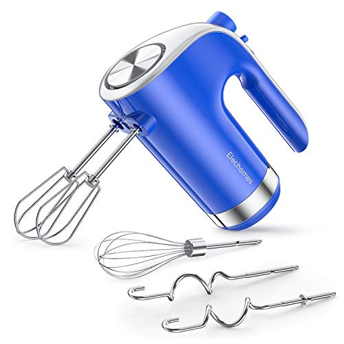 Elechomes 5-Speed Hand Mixer Electric, Lightweight & Comfortable Kitchen Handheld Mixer for Holding Long Time, Powerful Turbo Boost, Slow Start Anti-splash, and Easy Eject Button, with 2 Dough Hooks, 2 Beaters, and Whisk, Blue
