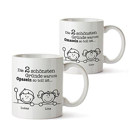 Casa Vivente 2er Tassen Set - Tasse Gute Gründe Oma und Gute Gründe Opa – Personalisiert mit [Namen der Enkel] – Kaffeetassen als Geschenkideen zum Geburtstag – Oma und Opa Geschenke – Geschenk Idee