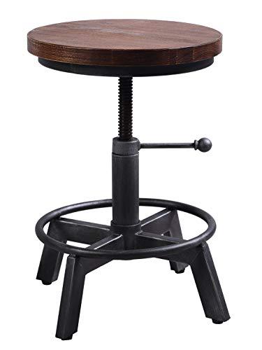 LOKKHAN Taburete de bar giratorio industrial vintage, altura regulable, taburete redondo de madera y metal, 15-21 pulgadas