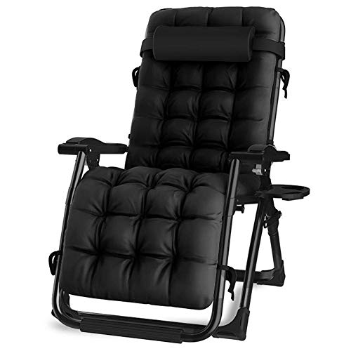Oversized Black Zero Gravity Lounge Padded Chair, Wide Armrest Adjustable Recliner with Cup Holder, Support 440Lbs,Black