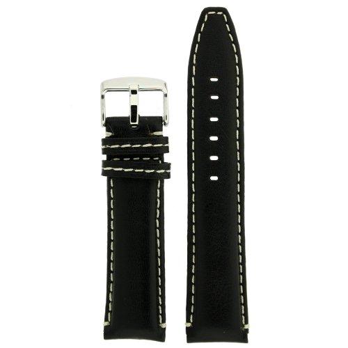 Cinturino in pelle nero bianco cuciture imbottite extra loop collegamento...