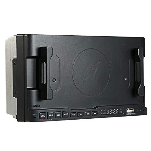 KKmoon Handyhalter Navi BT 5.0 Radio Player mit kabellosem Ladegerät USB Schnellladegerät + Auto MP3 / AM/FM-Player Aktualisierte Version APP Steuerung per Handy