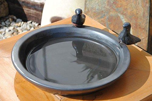 Kunert-Keramik Vogeltränke mit Zwei kleinen Vögelchen,rund,matt schwarz glasiert,30cm