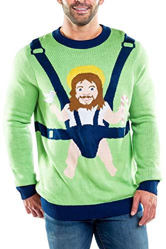 Tipsy Elves Men's Sweet Baby Jesus Christmas Sweater: Small Green