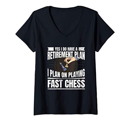 Mujer Ajedrez Jugador De Ajedrez I Jubilación Ajedrez Rápido Camiseta Cuello V