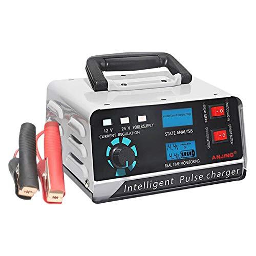 Fltaheroo 400W 30A 12V / 24V Cargador AutomáTico de BateríA de Coche ReparacióN de Pulso Inteligente Barco Trickle Enchufe de la UE