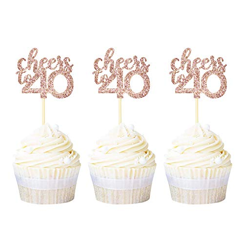 Ercadio 36 Pack Cheers to 40 Cupcake Toppers Rose Gold Glitter Forty Cake Picks Decoration for 40th Birthday Anniversary Party Supplies