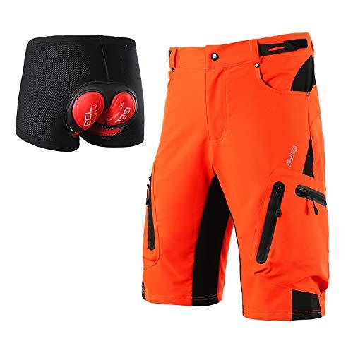 ARSUXEO Uomini Ciclismo Pantaloncini Sciolto Fit MTB Mountain Shorts Resistente All'aperto Sport Fondo 1202, Uomo, Arancione con cuscinetto, L