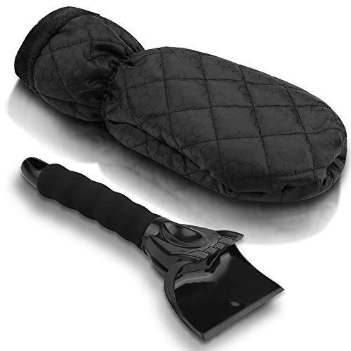 Vivibel IJskrabber voor in de auto, 2 stuks, met handschoenen, waterdichte warme ijskrabber voor binnen, velours, winter krabber met bezem voor auto voorruit, sneeuwschraper