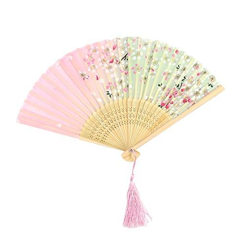 Toyvian Fan de papel abanico japonés flores de cerezo plegable ventilador de...