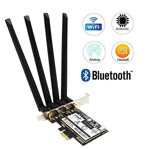 Tarjeta inalámbrica MQUPIN BCM94360CD AC1750 5G para ordenador de sobremesa, adaptador PCI-E Wi-Fi para PC de juegos con Bluetooth 4.0, compatible con Windows 10 Mac negro 4 antenas de 6 dBi.