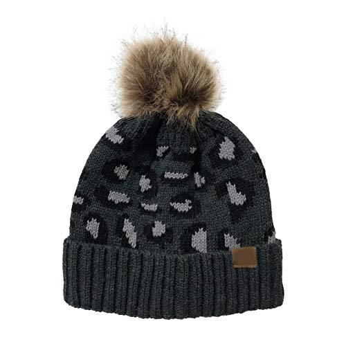 Sombreros de punto Skullcap Winter Retro Sombreros de invierno for el copete de las mujeres del cráneo de la gorrita tejida con la piel de imitación Bobble Pom Skullies Beaines Slouch de punto holgado