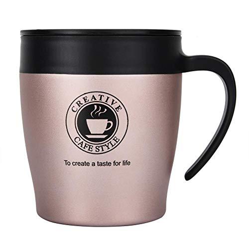 Oumefar Taza de café de acero inoxidable con doble pared de 330 ml, botella de vacío para té en casa (oro rosa)