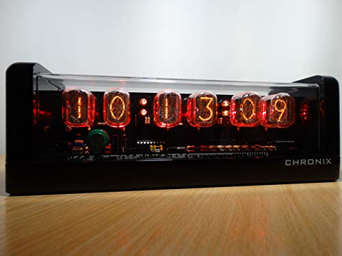CHRONIX Nixie Tube Clock with 6xIN-12 Tube displays & Alarm & red Backlight & Black Glossy Wooden case Nixie röhren Uhr