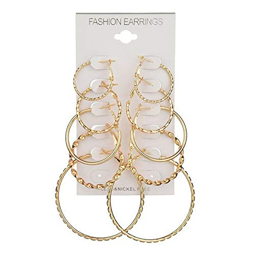 #N/V Pendientes de metal simples con forma geométrica y hueco, con diseño de aro grande, estilo retro, para mujer