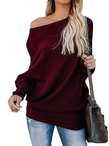 Minetom Mujer Jersey de Punto Primavera Suéter de Cuello V de Espalda de Las Mujeres Knit del Batwing Oversize Ancho Tejer Sueter Borgoña ES 44