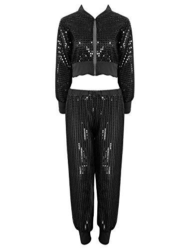 moily 2Pcs Women's Shiny Sequins Hip Hop Street Dance Suit Girls Long Sleeves Blouses