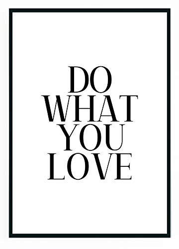 moebeldeal Poster DIN A4 - Do What You Love Plakat Bild Spruch Sprüche Slogan Motivation Küche Zitat Typografie Print Deko