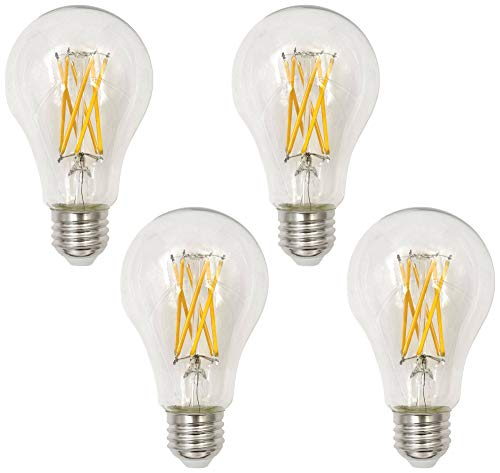 75W Equivalent Clear 8W LED Dimmable Filament A21 4-Pack - Tesler