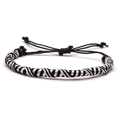 ANGYANG Woven Bracelet,White Black Rope Handmade Woven Chinese Staircase Knot Adjustable Charm Bracelets Bohemian Jewelry Lucky Friendship Gift For Men Women Couples Boy Girl