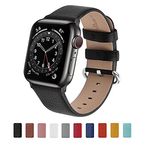 Fullmosa kompatibel mit Apple Watch Armband 44mm 42mm 40mm 38mm, Lederband Ersatzband für Damen Herren, Klassische Leder Armbänder für iWatch 7/6/SE/5/4/3/2/1 Schwarz + Rotguss Adapter