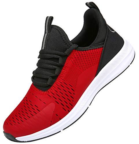 KOUDYEN Zapatillas Running Hombre Mujer Zapatos para Correr y Asfalto Aire Libre y Deportes Calzado Ligero Transpirable Sneaker XZ476-WineRed-EU43