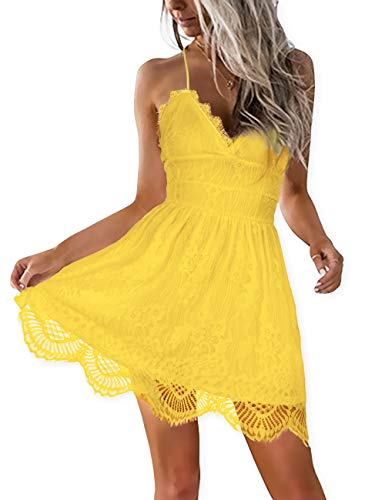 AOOKSMERY Women Summer V-Neck Spaghetti Straps Lace Backless Mini Party Club Beach Dresses (Yellow, X-Large)