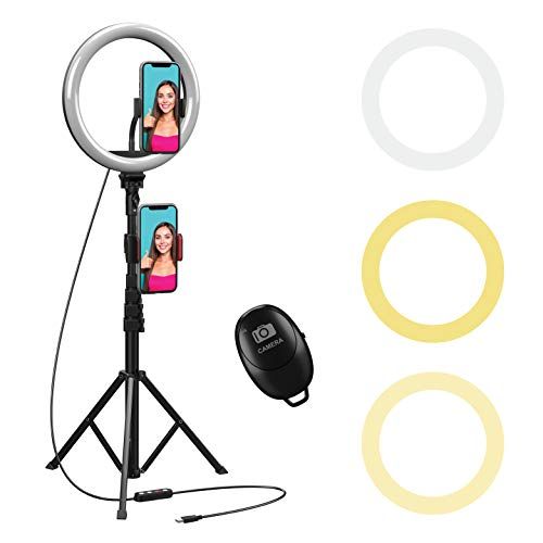 """10 inch Selfie Ring Light with 59"""" Extendable Tripod Stand & Flexible Phone Holder Beam Electronics Desktop LED Camera Ringlight for Tik Tok YouTube Video Photo Live Stream Makeup for iPhone Android"""