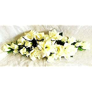 LINESS for 2 ft Artificial Roses Swag Silk Flowers Wedding Arch Table Runner Centerpiece DIY LINESS for Wedding Flowers, Petals & Garlands Floral Décor – Color is Cream/Ivory