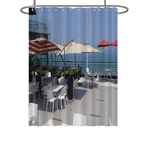 CUDEVS Scenic View of a Restaurant in Larcomar Shopping Center Miraflores District Lima,Fabric Shower Curtain for Bathroom Decor 72''W x 84''H