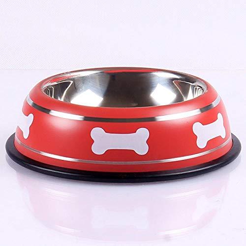 Hundenapf Neue Hundekatzenschalen Edelstahl rutschfeste Bunte Haustierbecken Fütterungsfütterung Wasserschale Für Haustier Hunde Katzen Welpen Haustierbedarf S Rot
