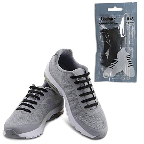 Coolnice No Tie Shoelaces for Adult Waterproof Silicone Elastic Shoe Laces-Black