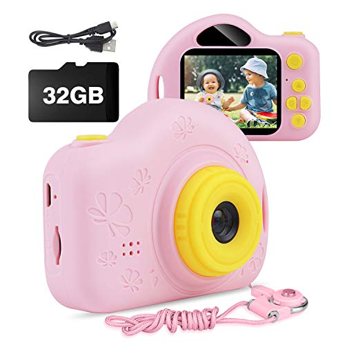 Kids Camera, AIMASON Digital Video Camera Gift for Age 4 5 6 7 8 9 10 Year Old Girls, Mini Rechargeable and Shockproof Camera Creative DIY Camcorder for Little Girl with 32GB SD Card (Pink)