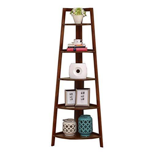 JCNFA planken massief hout hoek fan-vormige boekenplank, vijf-laags hoek plank, leunend tegen een muur decoratie opslag Rack, multifunctionele Display standaard, hout, 2 kleuren